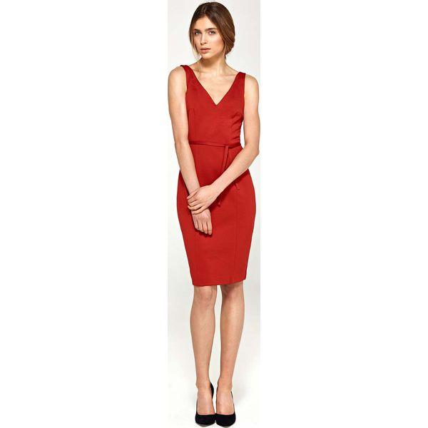511a640f275b06 Czerwona Sukienka z Dekoltem V na Szerokich Ramiączkach z Paskiem ...