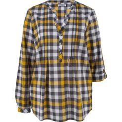 Tunika bluzkowa, długi rękaw bonprix szafranowy w kratę. Tuniki damskie marki bonprix. Za 37.99 zł.