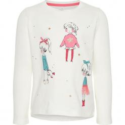"""Koszulka """"Ragirl"""" w kolorze białym. Białe bluzki dla dziewczynek Name it Kids, z bawełny, z okrągłym kołnierzem, z długim rękawem. W wyprzedaży za 35.95 zł."""