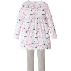Sukienka + legginsy (2 części) bonprix biel wełny - jasnoszary melanż. Legginsy dla dziewczynek marki OROKS. Za 32.99 zł.