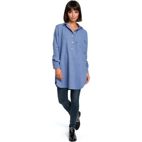 5b32052c5e331d Niebieska Długa Koszula z Kieszenią - Koszule damskie Molly.pl. Za ...