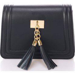 Skórzana kopertówka w kolorze czarnym - 20 x 16 x 8 cm. Kopertówki damskie Stylowe torebki, w paski, ze skóry. W wyprzedaży za 216.95 zł.