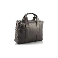 Ciemno brązowa skórzana torba na ramię brodrene b01, Kolor wnętrza: Czarny. Brązowe torby na laptopa męskie Brødrene, ze skóry ekologicznej. Za 169.00 zł.