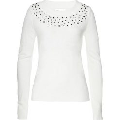 Sweter z perełkami bonprix biel wełny. Białe swetry damskie bonprix, z wełny. Za 79.99 zł.