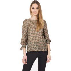 Luźna bluzka we wzory z rękawem 3/4 BIALCON. Brązowe bluzki damskie BIALCON, z materiału, biznesowe. W wyprzedaży za 146.00 zł.