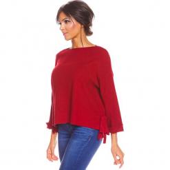 """Sweter """"Sonia"""" w kolorze bordowym. Czerwone swetry damskie So Cachemire, z kaszmiru, z asymetrycznym kołnierzem. W wyprzedaży za 173.95 zł."""