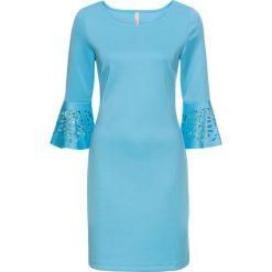 Sukienka z wycięciami bonprix jasny niebieski. Niebieskie sukienki damskie bonprix, z okrągłym kołnierzem. Za 129.99 zł.