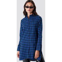 Rut&Circle Długa koszula w kratkę - Blue. Niebieskie koszule damskie Rut&Circle, w kratkę, z materiału, z długim rękawem. Za 161.95 zł.