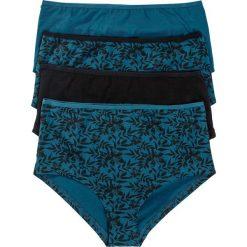 """Figi panty """"maxi"""" (4 pary), bawełna organiczna bonprix czarno-niebieskozielony z nadrukiem. Figi damskie marki KALENJI. Za 51.96 zł."""