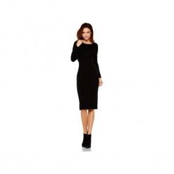 Kobieca ołówkowa sweterkowa sukienka LS224. Czarne sukienki damskie Lemoniade, na jesień, ze splotem, klasyczne, z klasycznym kołnierzykiem, z długim rękawem. Za 169.90 zł.