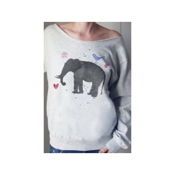 Słoń akwarele szara bluza z. Szare bluzy damskie One mug a day, z nadrukiem, z bawełny. Za 129.00 zł.
