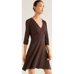 Mango - Sukienka Turquesa. Brązowe sukienki damskie Mango, z dzianiny, casualowe, z długim rękawem. Za 89.90 zł.