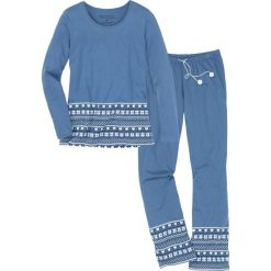 Piżama, bawełna organiczna bonprix niebieski dżins - biały z nadrukiem. Piżamy damskie marki MAKE ME BIO. Za 89.99 zł.