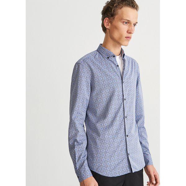 good service good looking cheap price Wzorzysta koszula slim fit - Granatowy