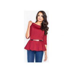 Bluzka M417 Bordo. Czerwone bluzki damskie Figl, z jeansu, eleganckie, z dekoltem w łódkę. Za 109.00 zł.