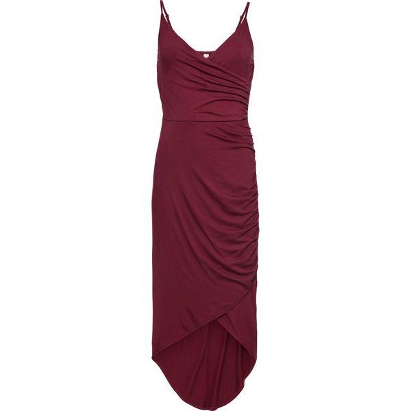 Długa sukienka na cienkich ramiączkach bonprix czerwony rubinowy