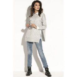 Sweter z rozcięciem fb587. Szare swetry damskie Fobya, z golfem. Za 119.00 zł.