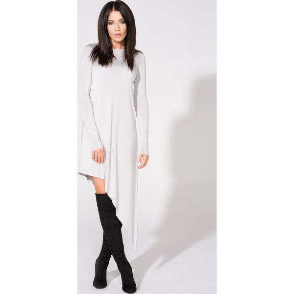 1d659b6d06 Jasnoszara Sukienka Asymetryczna Dzianinowa z Długim Rękawem ...