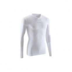 Koszulka termoaktywna długi rękaw dla dorosłych Kipsta Keepdry 500. Białe koszulki sportowe męskie KIPSTA, z elastanu, z długim rękawem. Za 49.99 zł.