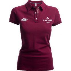 Koszulka polo damska Łotwa Pyeongchang 2018 TSD801 - bordowy. Czerwone bluzki damskie 4f, z bawełny, polo. W wyprzedaży za 79.99 zł.
