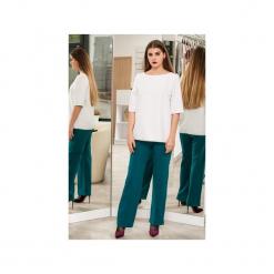 Spodnie szerokie z przeszyciem. Zielone spodnie materiałowe damskie 3 for u, z tkaniny. Za 169.00 zł.