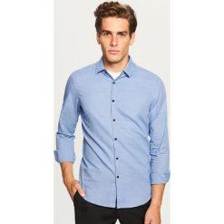Koszula w kratkę slim fit - Niebieski. Niebieskie koszule męskie Reserved, w kratkę. Za 69.99 zł.