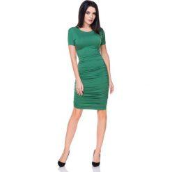 Zielona Sukienka Bodycon Drapowana na Bokach. Zielone sukienki damskie Molly.pl, z tkaniny, wizytowe, z krótkim rękawem. Za 138.90 zł.