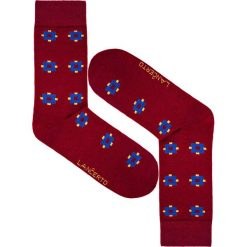 Skarpety w Kwadraty. Czerwone skarpety męskie LANCERTO, w kolorowe wzory, z bawełny. Za 29.90 zł.