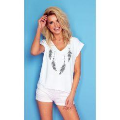 Bluzka t-shirt w piórka k184. T-shirty damskie Knitis, z dzianiny, klasyczne, z klasycznym kołnierzykiem, z krótkim rękawem. Za 69.00 zł.