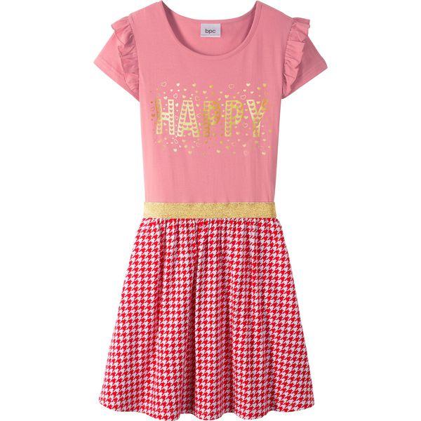 2fbc61ab45 Sukienka z falbanami i cekinami bonprix jasnoróżowo-czerwono-biały ...