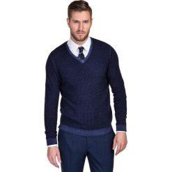 Sweter MANUELE SWGS000143. Brązowe swetry przez głowę męskie Giacomo Conti, na jesień, z wełny, z klasycznym kołnierzykiem. Za 399.00 zł.