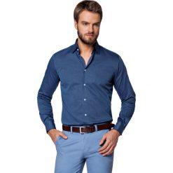 Koszula Granatowa Roland. Niebieskie koszule męskie LANCERTO, z haftami, z bawełny. Za 299.90 zł.