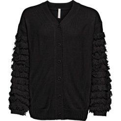 Sweter rozpinany z rękawami z frędzlami bonprix szary melanż. Kardigany damskie marki bonprix. Za 149.99 zł.