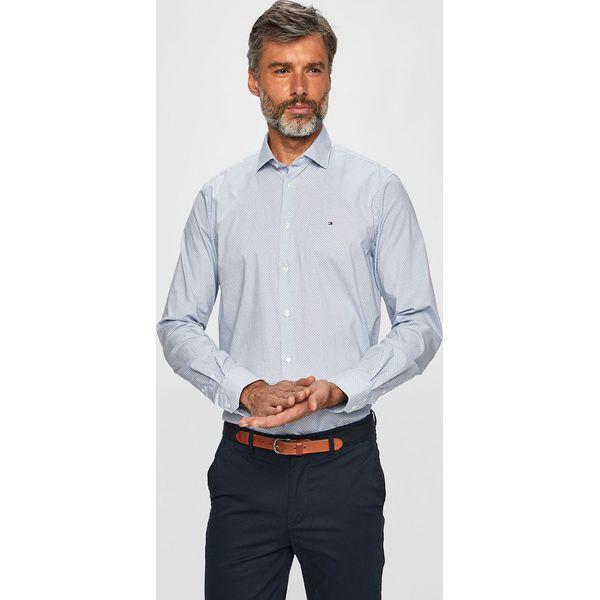2c136aac2 Tommy Hilfiger Tailored - Koszula - Niebieskie koszule męskie marki Tommy  Hilfiger Tailored, bez wzorów, z bawełny, klasyczne, bez kołnierzyka, ...