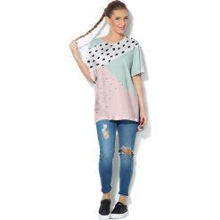 Colour Pleasure Koszulka CP-033  28 biało-miętowo-różowa r. uniwersalny. Bluzki damskie Colour Pleasure. Za 76.57 zł.