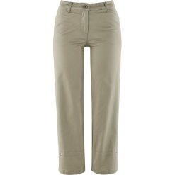 Spodnie ze stretchem 7/8 bonprix zielono-szaro-beżowy. Spodnie materiałowe damskie marki DOMYOS. Za 74.99 zł.