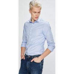 Guess Jeans - Koszula Almeda. Szare koszule męskie Guess Jeans, z aplikacjami, z bawełny, z włoskim kołnierzykiem, z długim rękawem. W wyprzedaży za 279.90 zł.