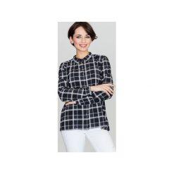 Koszula K421 Wzór 46. Szare koszule damskie Lenitif, w geometryczne wzory, eleganckie, z klasycznym kołnierzykiem, z długim rękawem. Za 109.00 zł.