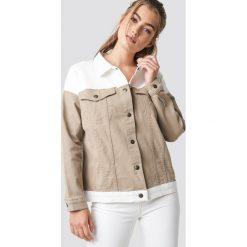 NA-KD Trend Dwukolorowa kurtka jeansowa - Beige,Offwhite. Brązowe kurtki damskie NA-KD Trend, z denimu. Za 283.95 zł.