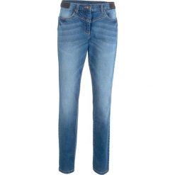 """Dżinsy modelujące sylwetkę z wstawką w prążek z boku w talii bonprix niebieski """"stone"""". Niebieskie jeansy damskie bonprix. Za 109.99 zł."""