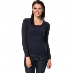 Sweter w kolorze granatowym. Niebieskie swetry damskie Assuili, z kaszmiru, z okrągłym kołnierzem. W wyprzedaży za 136.95 zł.