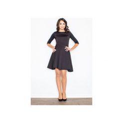 Sukienka M235 Czarny. Czarne sukienki damskie Figl, klasyczne, z klasycznym kołnierzykiem. Za 139.00 zł.