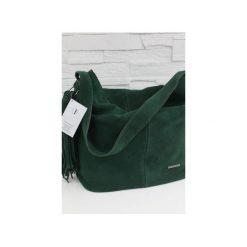 Zamszowa Shopper boho butelkowa zieleń. Zielone torebki shopper damskie Fabiola, z materiału. Za 281.00 zł.