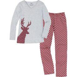 Piżama bonprix czerwono-pomarańczowy z nadrukiem. Brązowe piżamy damskie bonprix, z nadrukiem. Za 69.99 zł.