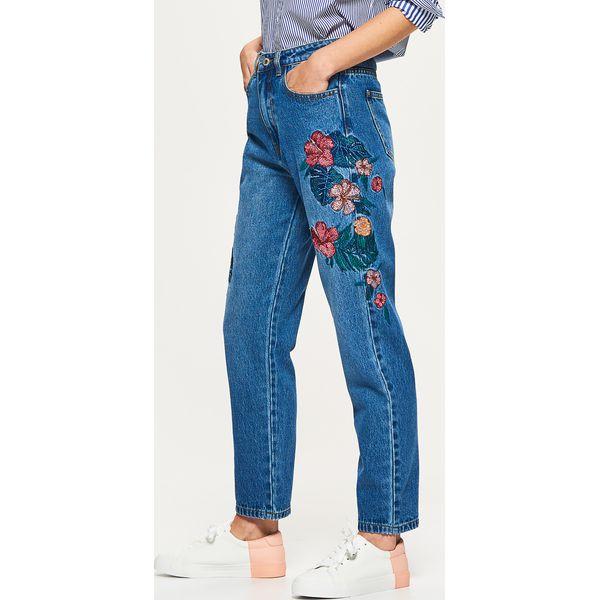 Genialny Mom jeans z haftowanymi kwiatami - Niebieski - Jeansy damskie GG15