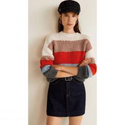 Mango - Sweter Colores. Różowe swetry damskie Mango, z dzianiny, z okrągłym kołnierzem. Za 139.90 zł.