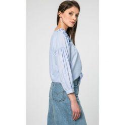 Pepe Jeans - Koszula. Szare koszule damskie Pepe Jeans, z haftami, z bawełny, casualowe, z długim rękawem. W wyprzedaży za 179.90 zł.