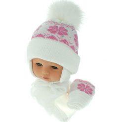 Czapka niemowlęca z szalikiem i rękawiczkami 012D biała. Czapki dla dzieci marki Pulp. Za 46.14 zł.