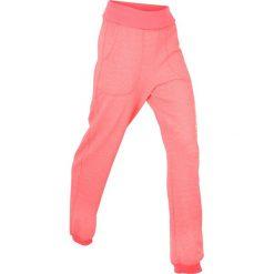 Spodnie sportowe z wywijanym paskiem, długie bonprix łososiowy neonowy. Spodnie sportowe damskie bonprix. Za 49.99 zł.