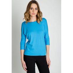 Niebieska bluzka z rękawem 3/4 BIALCON. Niebieskie bluzki damskie BIALCON. Za 95.00 zł.